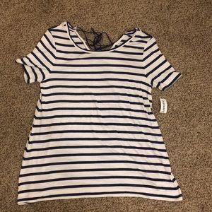 Navy blue and white striped t shirt